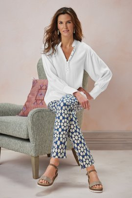 Superla Stretch Pull-on Mosaic Skinny Ankle Pants