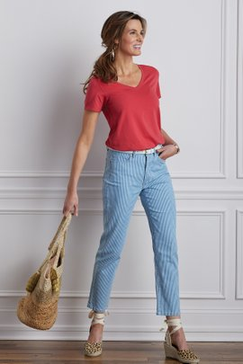 The Ultimate Denim Railroad Stripe Straight Crop Jeans