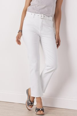 Ultimate Denim Belted High-Rise Straight Crop Jeans