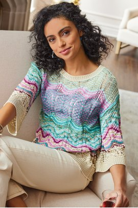 Thereze Stripe Pointelle Sweater