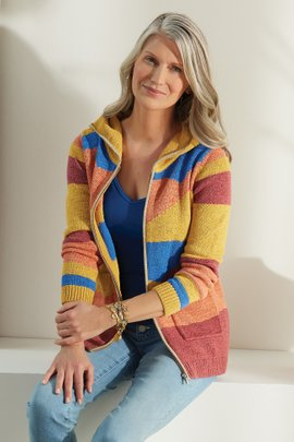 Reverie Hooded Intarsia Cardigan