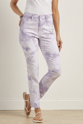 Ultimate Denim Tie Dye High Rise Skinny Ankle Jeans