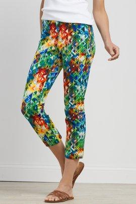 Superla Stretch Pull-On Prism Straight Leg Crop Pants