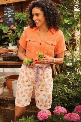 Summer Breeze Palm Linen Shorts