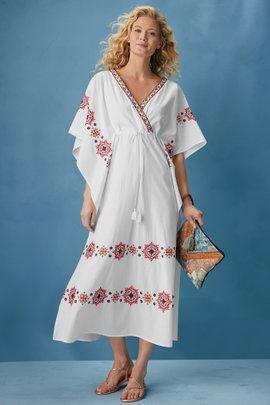 Cerise Embroidered Swim Dress