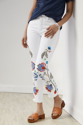 Ultimate Denim Samaria Embellished Straight Cropped Jeans