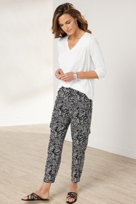 Go Lively Stamped Floral Cargo Pants