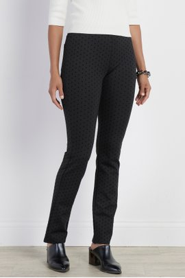 Perfect Ponte Pull-On Straight Leg Flocked Dot Pants