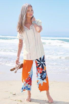 Cabana Bay Wide Leg Crop Pants