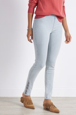Ultimate Denim Button Hem Skinny Jeans