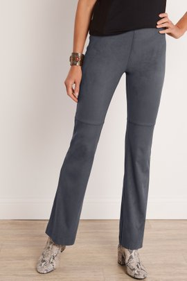 Faux Suede Pull-On Bootcut Pants