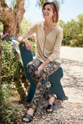 Superla Stretch Pull-On Dark Floral Straight Leg Pants