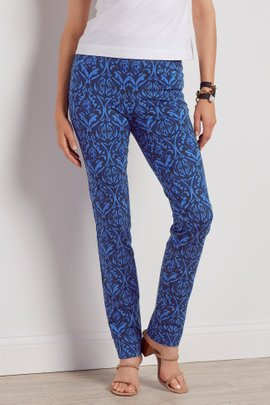 Superla Stretch Pull-On Blue Damask Straight Leg Pants