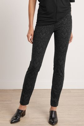 Superla Stretch Pull-On Black Damask Straight Leg Pants
