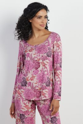 Blissful Bamboo Rose Long Sleeve Top