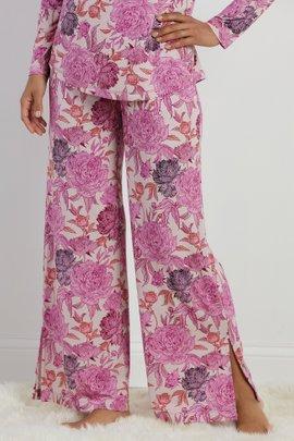 Blissful Bamboo Rose Slit Hem Pants