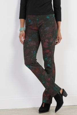 Perfect Ponte Marbled Pull-On Straight Leg Pants