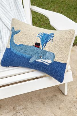 Whale with Top Hat Hooked Pillow