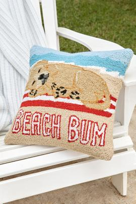 Golden Lab Beach Bum Hooked Pillow