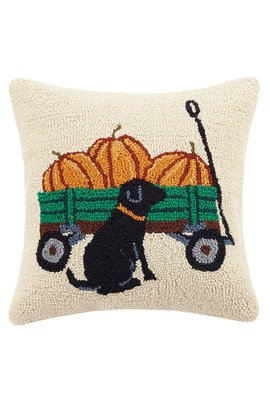 Black Lab with Pumpkins Hooked Pillow