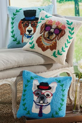 Fashionista Dogs Hooked Pillow