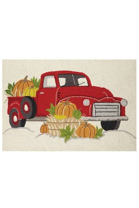 Red Truck With Pumpkins Hooked Rug
