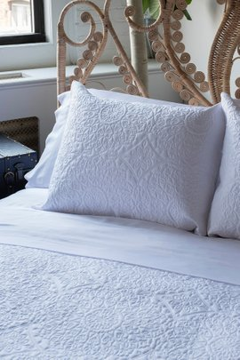 Medallion Embroidered Bamboo Coverlet Set
