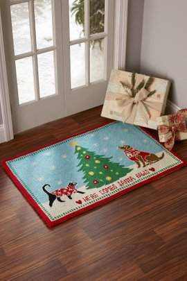 Here Comes Santa Paws Hooked Rug