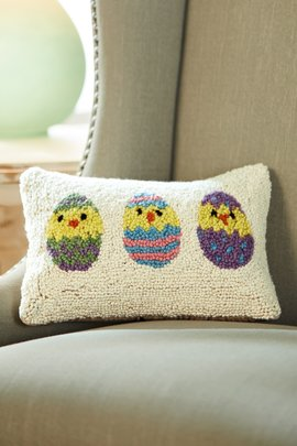 Baby Chicks Hooked Pillow