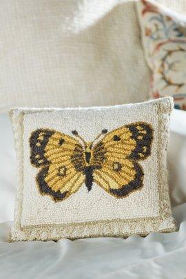 Golden Butterfly Hooked Pillow
