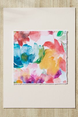 Watercolor Floral Deckle-Edge Print