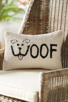 Woof Hooked Pillow