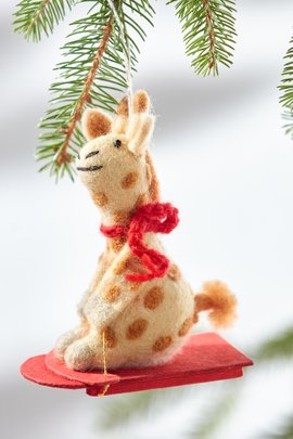 Sledding Ginger the Giraffe Ornament