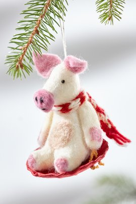 Sledding Piggles the Pig Ornament