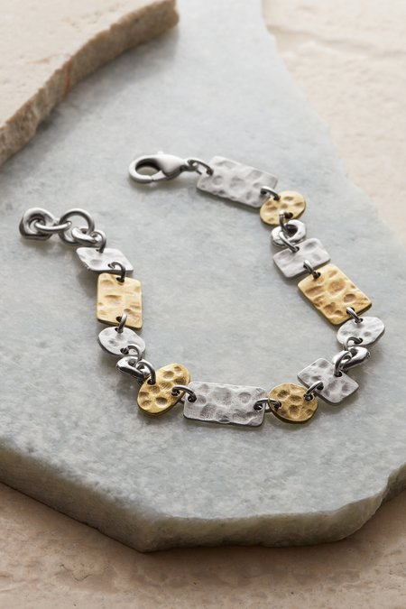 Hammered Mixed Metals Bracelet