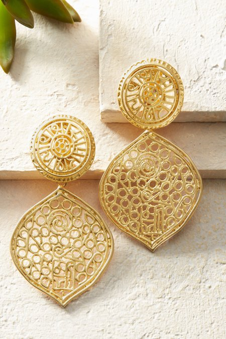 Satin Gold Filigree Clip Earrings