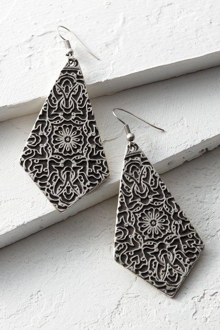 Engraved Shield Earrings