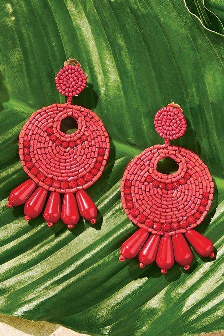 Red Beaded Drop Earrings