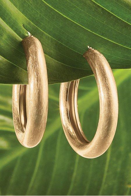 Brushed Metal Hoop Earrings