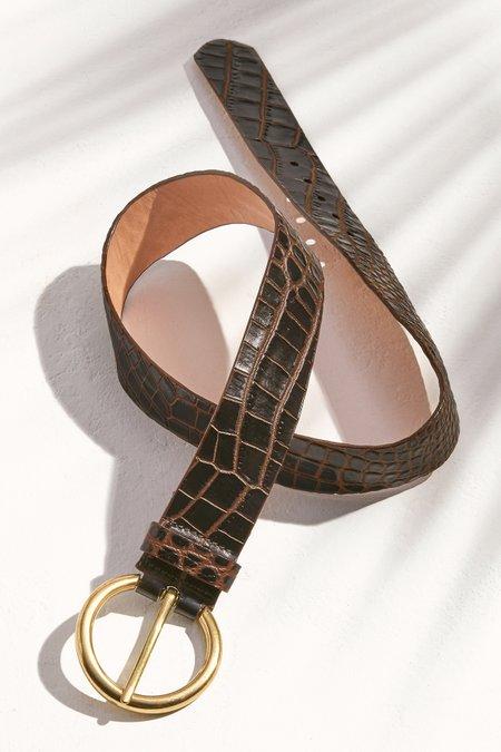 Circle Buckle Exotic Snake Belt