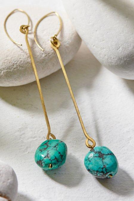 Brass Stone Drop Earrings