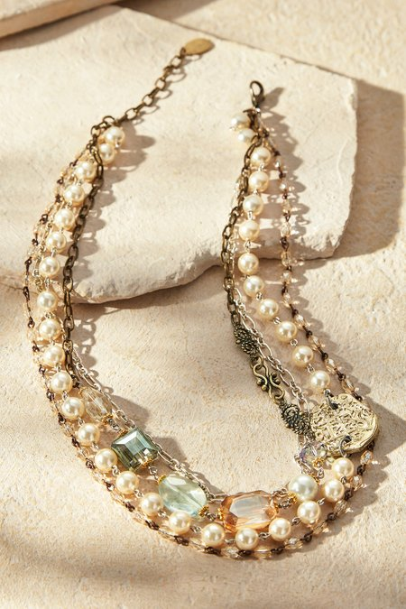 Pearl & Crystal Multi Strand Necklace
