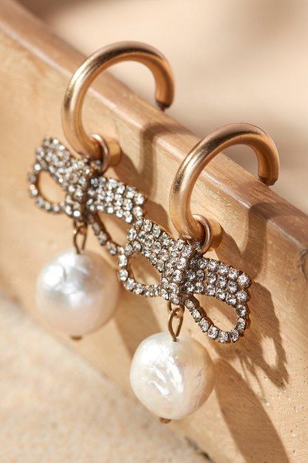 Bow & Pearl Drop Earring