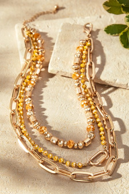 Chain and Stone Layered Necklace