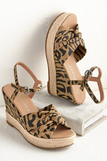 Knotted Wedge Espadrille Sandal