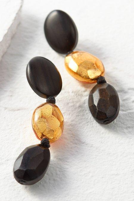 Triple Drop Wood and Gold Earrings