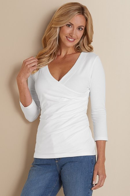 Petites 3/4 Sleeve Shapely Surplice Top II