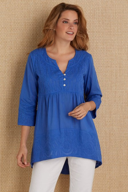 29a42d41bae Treves Tunic - Cutwork Tunic, Womens Tunic | Soft Surroundings Outlet