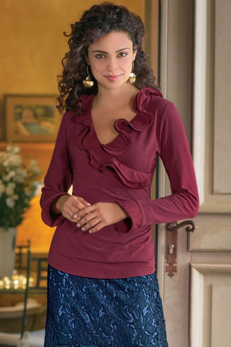 Shapely Surplice Ruffle Top