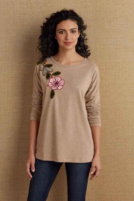Hibiscus Embroidered Tee